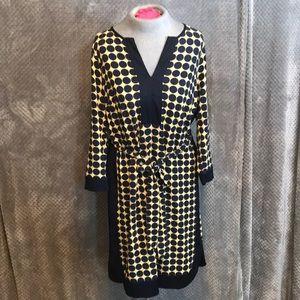 Ann Taylor blue and yellow dot dress